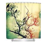 Tree Of Crows II Lights Shower Curtain