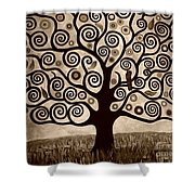 Tree Of Life In Sepia Shower Curtain