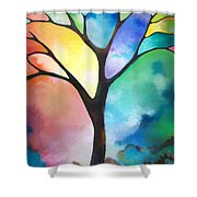 Original Art Abstract Art Acrylic Painting Tree Of Light By Sally Trace Fine Art Shower Curtain