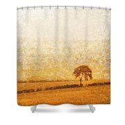 Tree On Hill At Dusk Shower Curtain by Pixel  Chimp