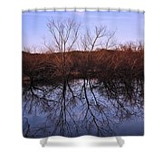 tree reflection on Wv pond Shower Curtain