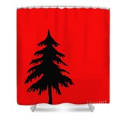 Tree Silhouette On A Red Background 2 Shower Curtain