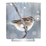 Tree Sparrow In The Snow Shower Curtain