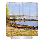Tree Trunk By The River Shower Curtain