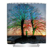 Trees Aglow Shower Curtain