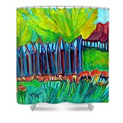 Trees And Meadow Shower Curtain
