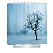 Trees And Snow In Fog, Toronto, Ontario Shower Curtain