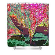 Trees Around Faal Season  Digitally Painted Photograph Taken Around Poconos  Welcome To The Pocono M Shower Curtain
