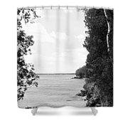 Trees At The Lakeside, Cave Point Shower Curtain