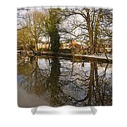 Trees Beside The Wintry Rolleston Pond Shower Curtain
