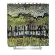 Trees By A Stream Shower Curtain