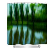 Trees By The Lake Shower Curtain