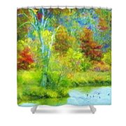 Trees In Spring On A Lake Shower Curtain