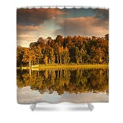 Trees Lining The Waters Edge Reflected Shower Curtain