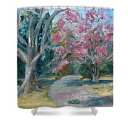Trees Of Windermere Shower Curtain by Susan E Jones