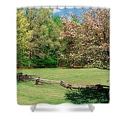 Trees On A Field, Davidson River Shower Curtain