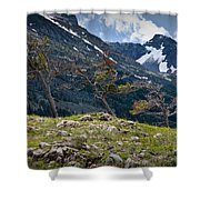 Trees On Top Of A Ridge At Glacier National Park Shower Curtain