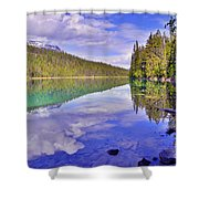 Trees Reflected At Valley Of The Five Lakes Shower Curtain