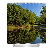Trees Reflected On Mirrored Lake  Shower Curtain