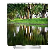 Trees Reflection On The Lake Shower Curtain by Heiko Koehrer-Wagner