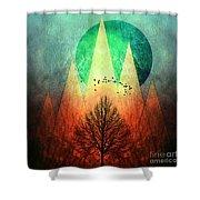 Trees Under Magic Mountains I I Shower Curtain