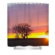 Trees Watching The Sunrise Panorama View Shower Curtain