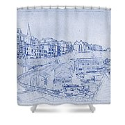 Trenby Bay Blueprint Shower Curtain