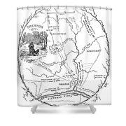 Trenton Map, 1777 Shower Curtain