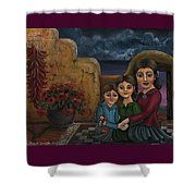 Tres Mujeres Three Women Shower Curtain by Victoria De Almeida