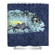Gyotaku Trevally Shower Curtain
