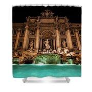 Trevi Fountain Illuminated At Nighttime Shower Curtain