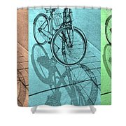 Tri-coloured Bicycle Print Shower Curtain