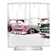 Tri Five Chevys Shower Curtain