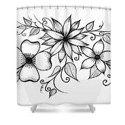 Tri-floral Sketch Shower Curtain
