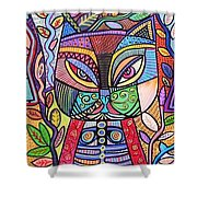 Tribal Mosaic Cat Garden Shower Curtain