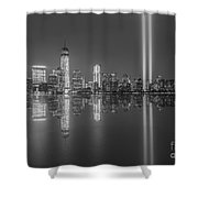 Tribute In Light Reflections Bw Shower Curtain