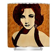 Tribute To Elizabeth Taylor Coffee Painting Shower Curtain
