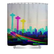 Tricolor Seattle Space Needle Shower Curtain