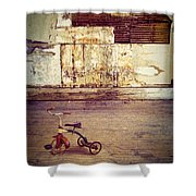 Tricycle In Abandoned Room Shower Curtain