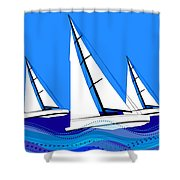 Trio Of Sailboats Shower Curtain