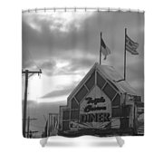 Triple Crown Diner In Black And White Shower Curtain