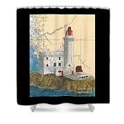 Triple Islands Lighthouse Bc Canada Chart Art Shower Curtain