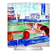 Triple Play At Shea Shower Curtain