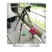 Tripod And Roses On Floor Shower Curtain