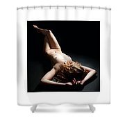 Triptychon Beautiful Curly-haired Nude 1 Shower Curtain