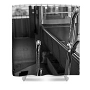 Trolley 28 Leaver Black And White Shower Curtain
