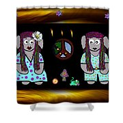 Trolls In Hippie Wood Shower Curtain