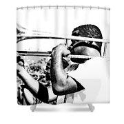 Trombone Man Bw Shower Curtain