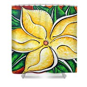 Tropical Abstract Pop Art Original Plumeria Flower Painting Pop Art Tropical Passion By Madart Shower Curtain