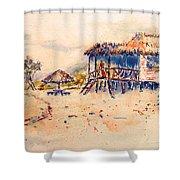 Tropical  Beach Hut Shower Curtain